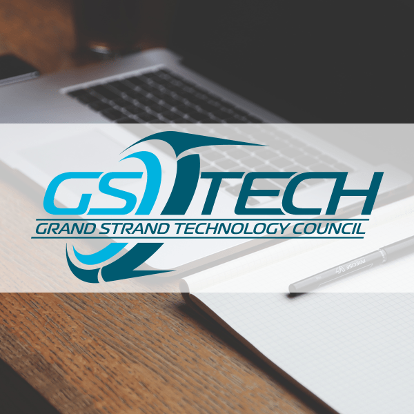 GS Tech Council logo with a laptop in the background