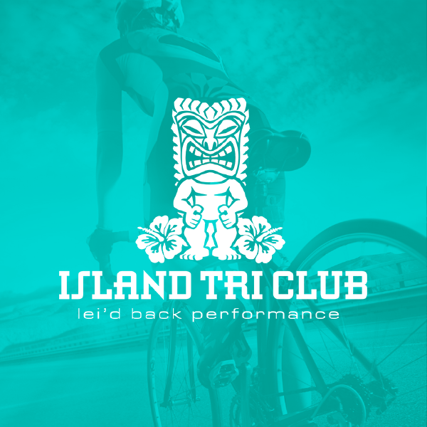 Island TRI Club logo with biker in the background