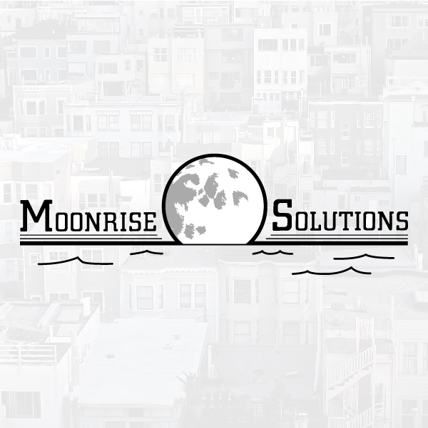 Logo with moonrise solutions with city in the background