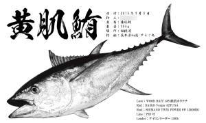 キハダマグロ墨風魚拓