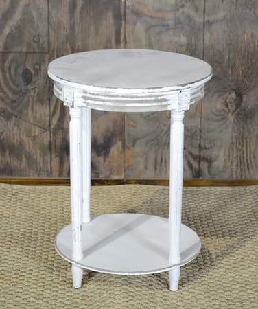 distressed white side table rental