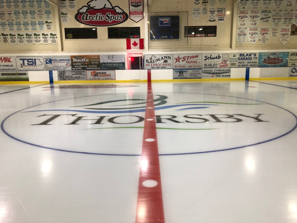 Centre ice at the Arctic Spas Recreation Complex