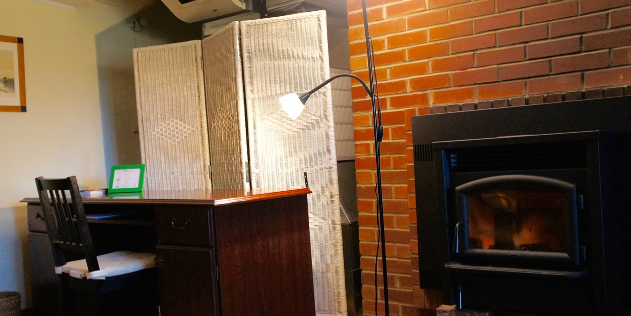 pellet stove in basement