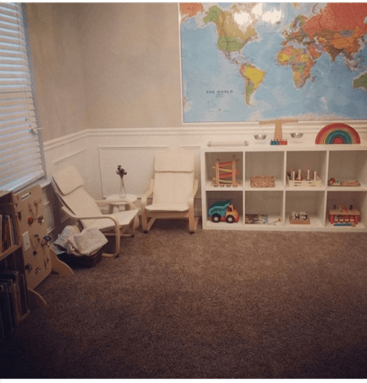 a beautifullly set up Montessori playroom. A great way to get started with Montessori!