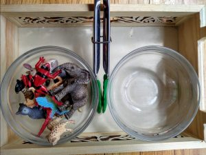 Child-size tongs, miniature animals, and 2 bowls