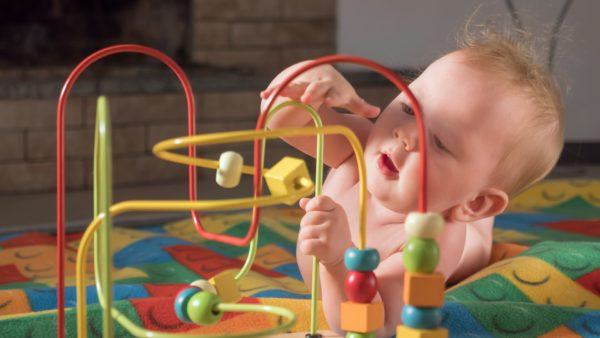 Montessori baby playing