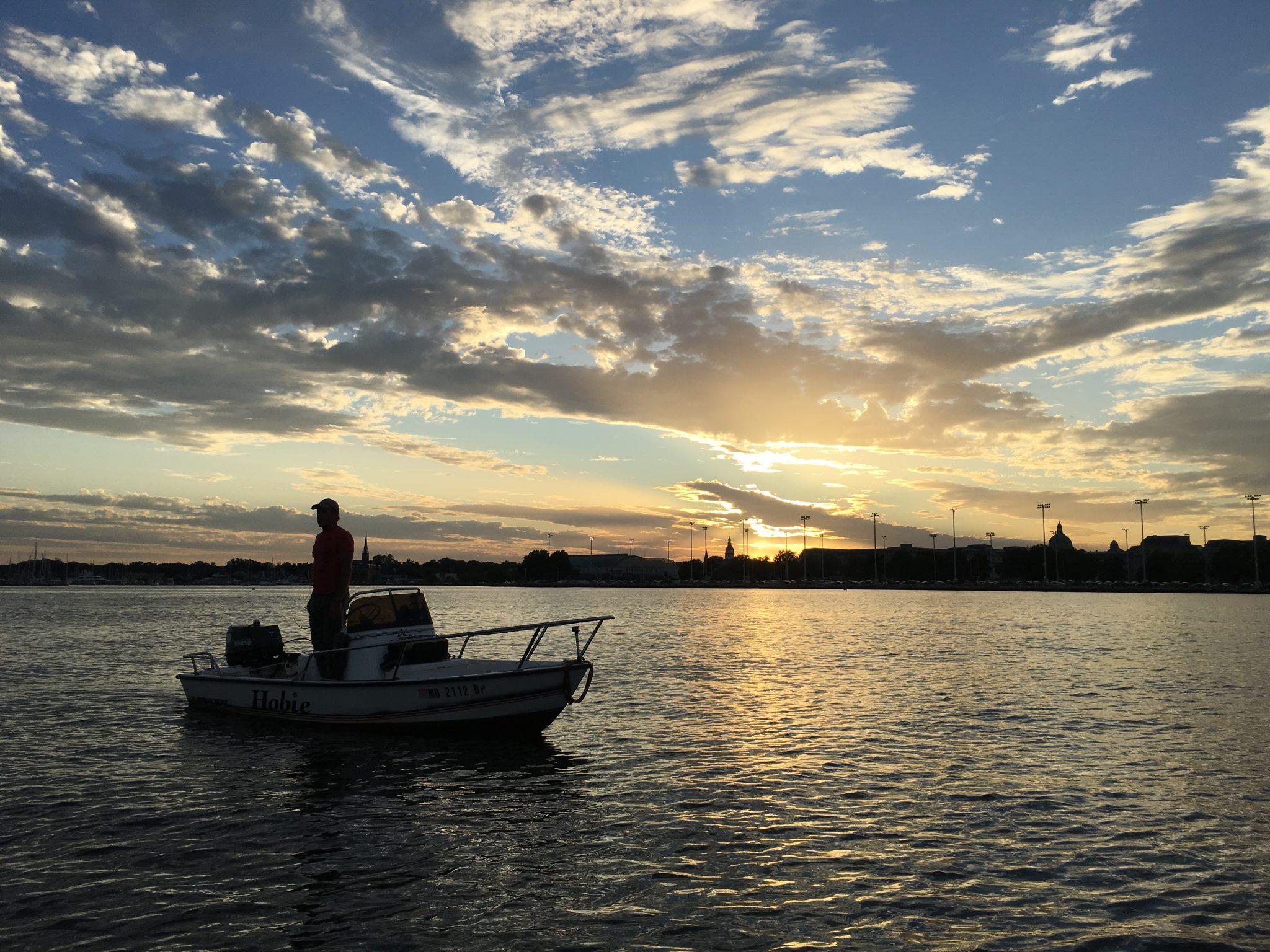 sailing, coach, water, sunset