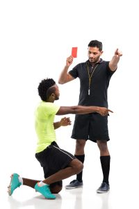 red card, argument