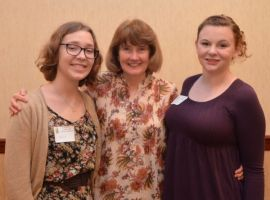 School Counselor Anne Burke with award-winners Laurel Auth and Katherine McCann, courtesy of The Amherst Patch