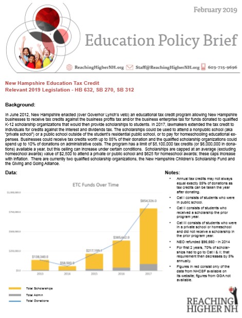 Education Policy Is Tax Policy And Real >> Policy Brief New Hampshire Education Tax Credit Reachinghighernh