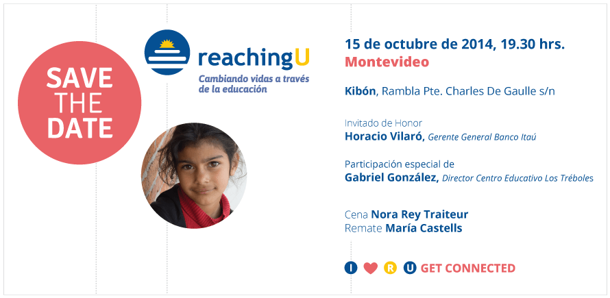 Gala Anual de Reaching U en Montevideo: 15 de octubre, 19:30 hs, en Kibón