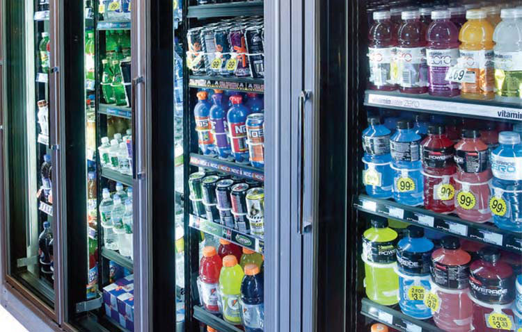 different drinks in convenience store