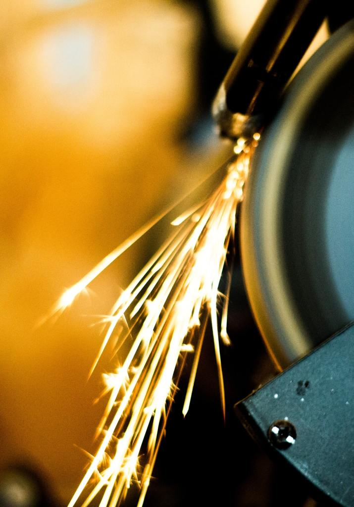 Sparks from metal