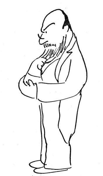 An abdominal man worrying