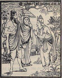 The cursed Yayati begs forgiveness of Shukracharya