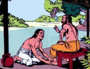 Uddalaka blessing his son Shvetaketu
