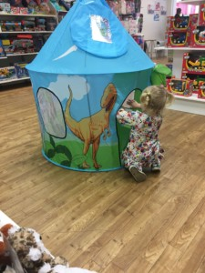 What2Buy4Kids toy shop review and Spikes obsession with the Dinosaur pop up tent