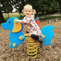 Day 5 of the #everymomentscounts challenge was to capture something colourful so I captured Spike on a dachshund rocker in the park at Trentham Monkey Forest. Spike is wearing a colourful flowery top and the dachshund is bright blue and yellow
