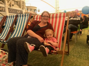Mummy and Spike enjoying a relaxing deskchair session at Butlin's Just For Tots in Minehead