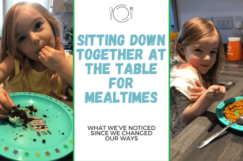 Blog title graphic - sitting at the table for mealtimes - with two images. On the left is Spike, a 4 year old blonde haired brown eyed girl eating cake, the the right is Spike eating beans and sausage looking very cheeky