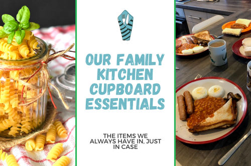 blog title graphic- Our family kitchen cupboard essentials - with blog title and two images. first is a jar of pasta and the second is a layout of our breakfast