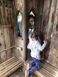 In one of the old huts at Lowther Castle