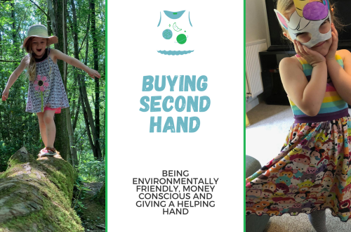 Why I buy second hand clothes for Spike and myself. Blog title graphic with two images of Spike warren second hand clothes I've bought her