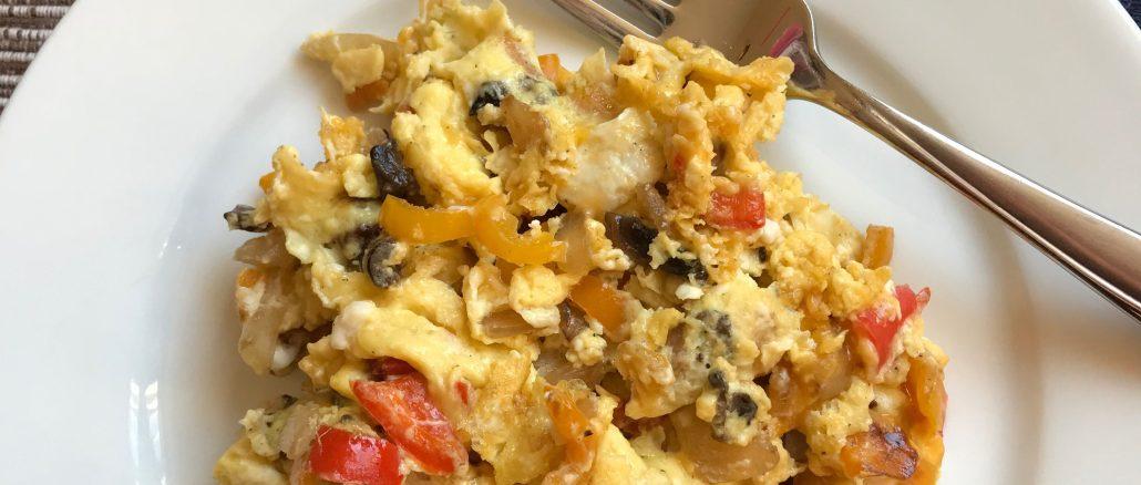 veggie loaded scrambled eggs