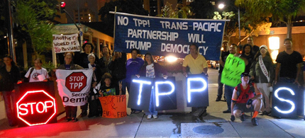 A recent protest against the Trans-Pacific Partnership. Image Caption/Credit// A recent protest against the Trans-Pacific Partnership. (photo: Gawker)