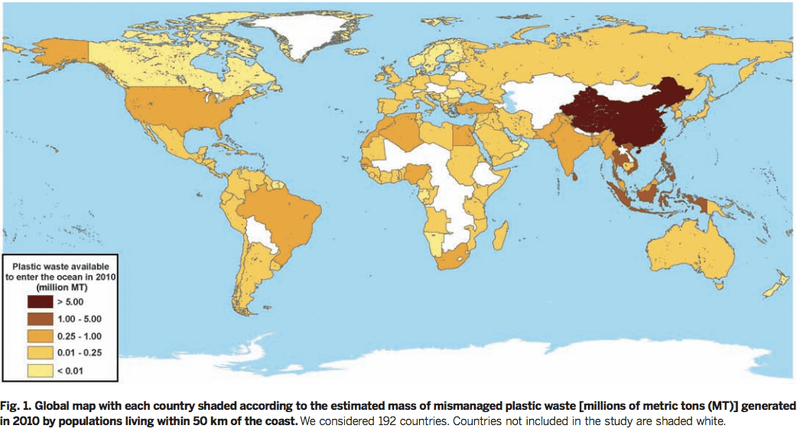 Jenna R. Jambeck of the University of Georgia shows plastic waste from each country. (photo: Jambeck et al 2015)