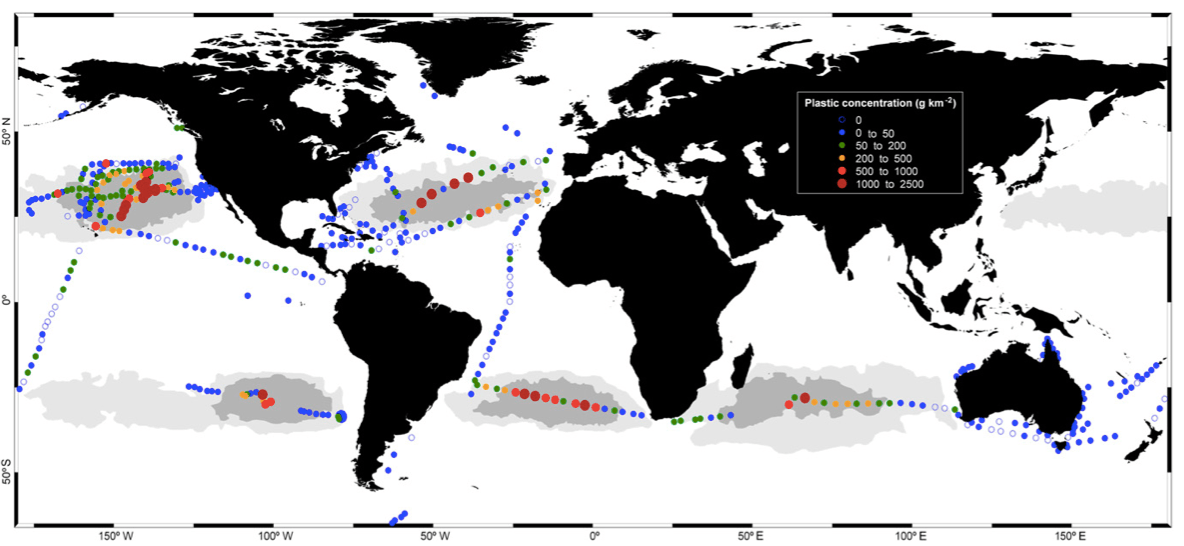 Concentrations of plastic debris in surface waters of the global ocean. Colored circles indicate mass concentrations. (photo: Cozar et al, 2014.)