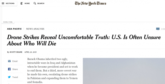 A featured headline from The New York Times. (photo: The Intercept)
