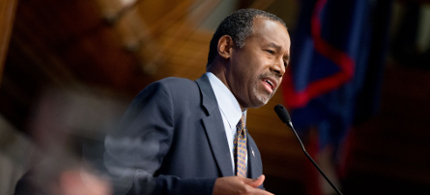 Republican presidential candidate Dr. Ben Carson speaking at a luncheon at the National Press Club. (photo: Andrew Harnik/AP)