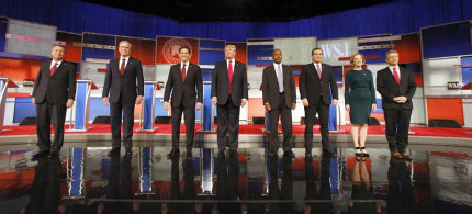 Republican presidential candidates John Kasich, Jeb Bush, Marco Rubio, Donald Trump, Ben Carson, Ted Cruz, Carly Fiorina and Rand Paul take the stage before the Republican presidential debate at the Milwaukee Theatre, Tuesday, November 10, 2015. (photo: Jeffrey Phelps/AP)