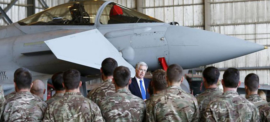 Michael Fallon, the Defence Secretary, speaks to RAF personnel in Cyprus (photo: Reuters)