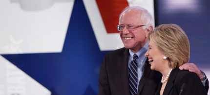 Senator Bernie Sanders with Secretary Clinton. (photo: Mandel Ngan/Getty)