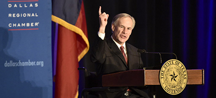 Texas Governor Greg Abbott speaks at the Dallas Regional Chamber at the Hyatt Regency Hotel on March 16, 2015. (photo: Michael Ainsworth/The Dallas Morning News)
