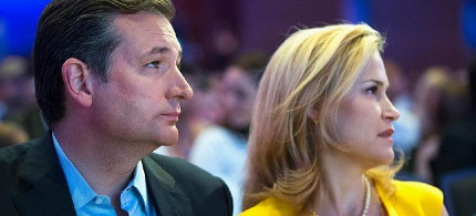 Republican presidential candidate Senator Ted Cruz, R-Texas, sits with his wife Heidi Nelson Cruz at the Religious Liberty Rally he was hosting on August 21, 2015, in Des Moines, Iowa. (photo: Scott Olson/Getty)