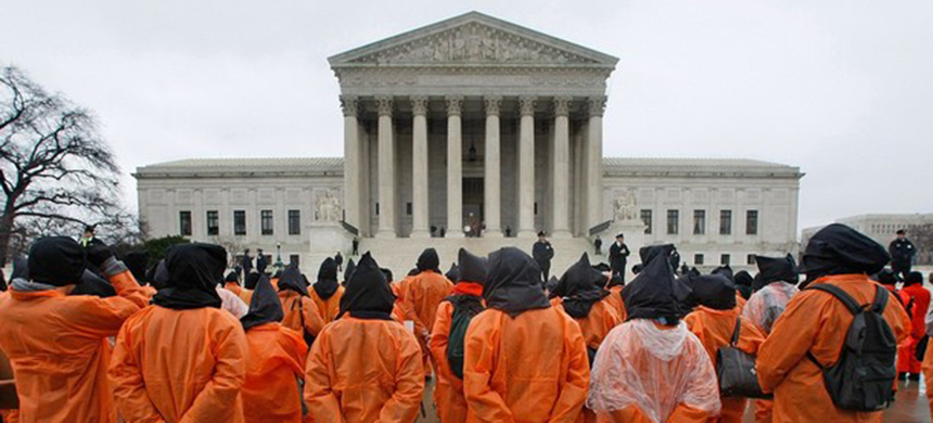 Protest against the Guantanamo Bay detention center in front of the Supreme Court building in 2008. (photo: Mark Wilson/Getty Images)