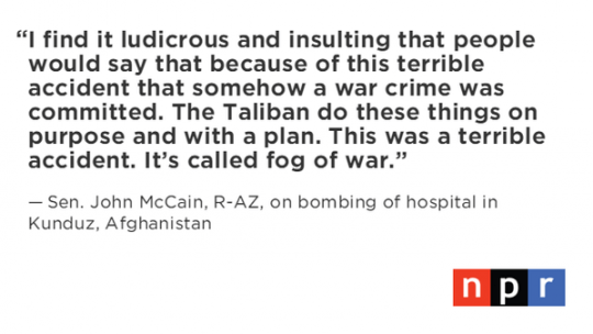 Quote from Sen. John McCain. (photo: The Intercept)