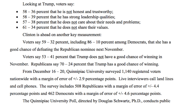 Data on a Quinnipiac Poll covering Donald Trump (photo: Juancole.com)