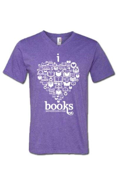 I Heart Books VNeck T-Shirt Purple