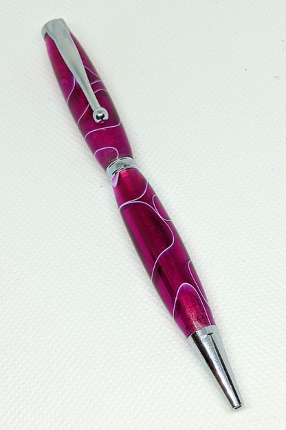 Fuscia/White Acrylic Slim Pen 34