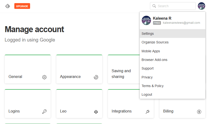 Customize your account settings on Feedly