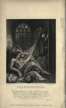 Inside cover for Frankenstein in 1831