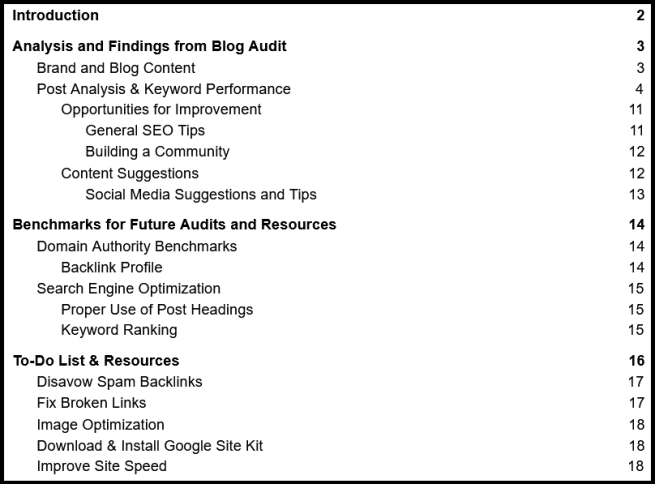 Blog Audit table of contents