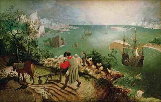 Photo of painting by Bruegel the Elder-Landscape with the Fall of Icarus, showing plowman behind his horse in foreground, ocean view with ship and a miniature pair of legs, which is Icarus disappearing into the sea.