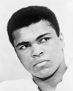 Headshot of Muhammad Ali, master of figurative language. Photo By Ira Rosenberg*