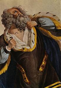 Engraved and colored plate of actor dressed as King Lear in 1700s, raging against loss and death.