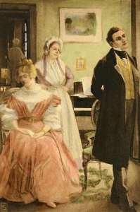 Rosamond and Lydgate. 1910 illustration.